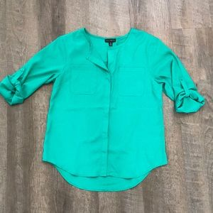 NWT Willi Smith Teal Button up Blouse